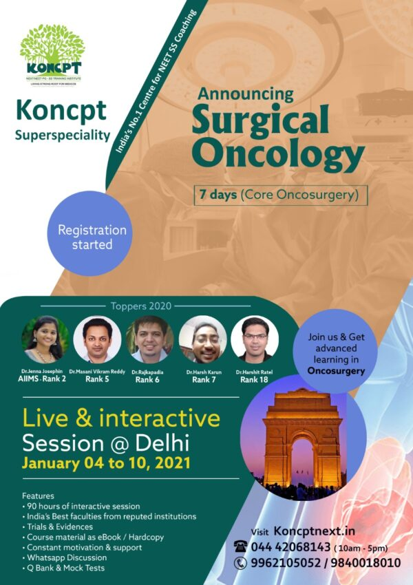 Oncosurgery Course - Delhi (January 4 to 10-2021)